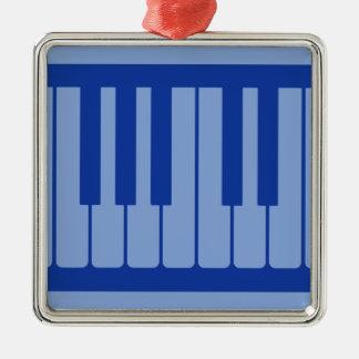 Pianonycklar tänder - blåttmönster julgransprydnad metall