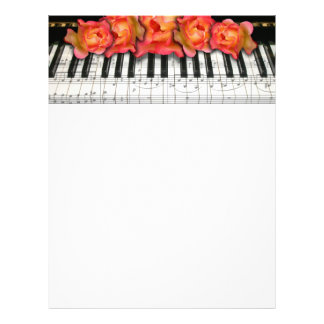 Pianotangentbordro och musik noter brevhuvud