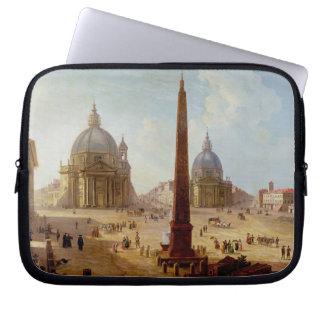 Piazza del Popolo, Rome (olja på kanfas) Laptopskydd Fodral