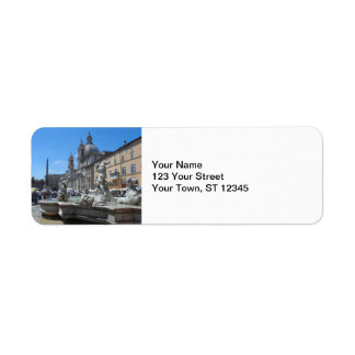Piazza Navona- Rome, italien Returadress Etikett
