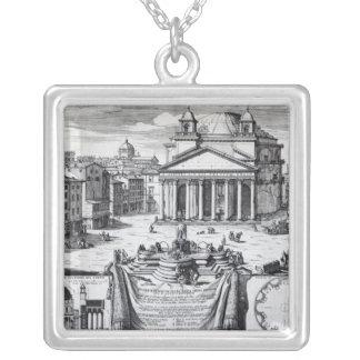 Piazzadella Rotonda med en beskåda av pantheonen Silverpläterat Halsband
