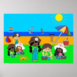 Picknick för strand för flickor för poster