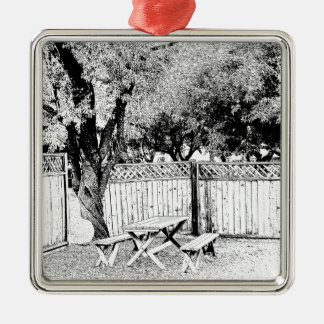Picknickbord på tältplatsen julgransprydnad metall