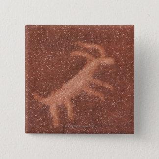 Pictograph av antilop på den röda sandstenväggen, standard kanpp fyrkantig 5.1 cm