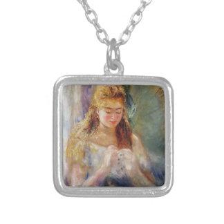 Pierre-Auguste Renoir- en Needlewoman Silverpläterat Halsband
