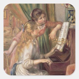 Pierre Renoir en | ung flicka på pianot Fyrkantigt Klistermärke