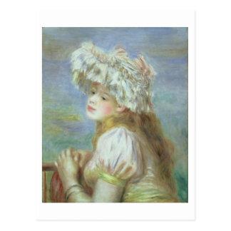 Pierre Renoir | en ung kvinna i en snörehatt Vykort