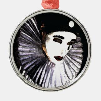 Pierrot Rund Silverfärgad Julgransprydnad