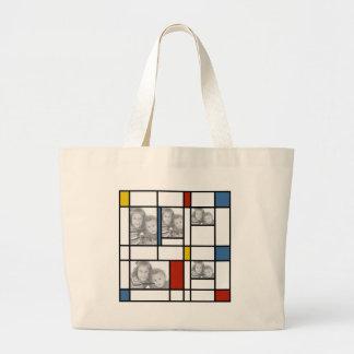 Piet hänger lös den Mondrian inspirerade fotomalle Jumbo Tygkasse