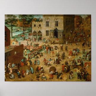 Pieter Bruegel fläderen - barns lekar Poster