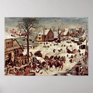 Pieter Bruegel fläderen - folkräkning på Bethlehem Poster