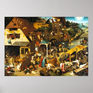 Pieter Bruegel Netherlandish Proverbsaffisch Poster