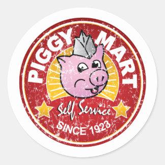 Piggy emblem för anställd för runt klistermärke