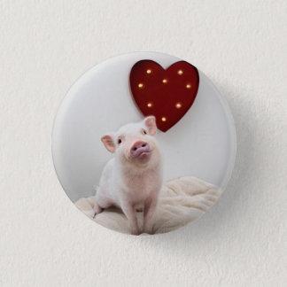 Piggy hjärta knäppas mini knapp rund 3.2 cm