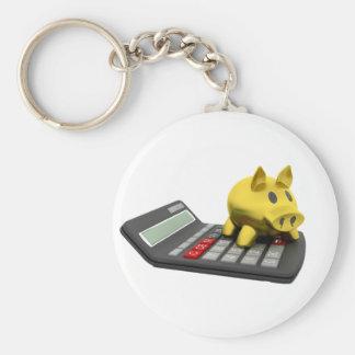 Piggy packa ihop på en räknemaskin Keychain Rund Nyckelring