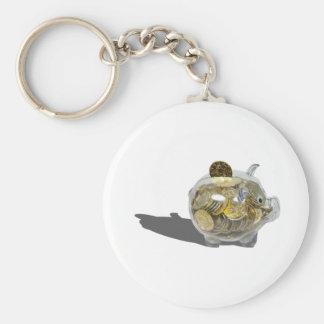 PiggyBankGoldCoins102410 Rund Nyckelring