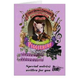Piglet för Paganini parodiPiggienini djur Hälsningskort