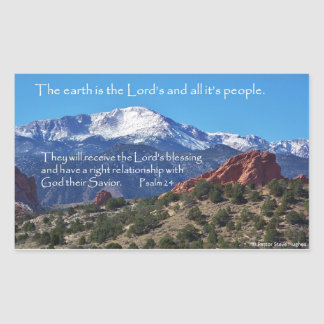 Pikes nå en höjdpunkt, scripturen för Psalm 24 Rektangulärt Klistermärke