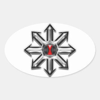 Pilar av kaosar - svart änka ovalt klistermärke