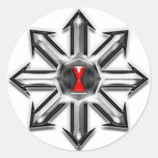 Pilar av kaosar - svart änka runt klistermärke