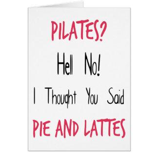 Pilates roligt citationstecken, svart och rosor hälsningskort