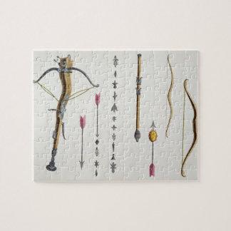 Pilbågar och pilar från det15th århundradet, pläte pussel