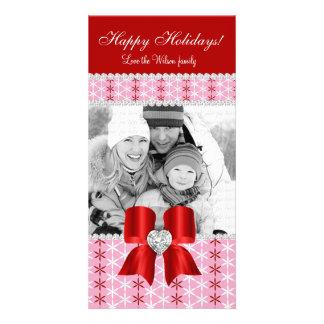 Pilbåge 3 för snö för julfotokort röd rosa fotokort