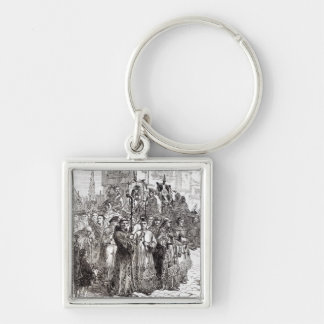 Pilgrimsfärden av nåd i 1536 fyrkantig silverfärgad nyckelring