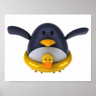 Pingvin med en Rubber anka Poster