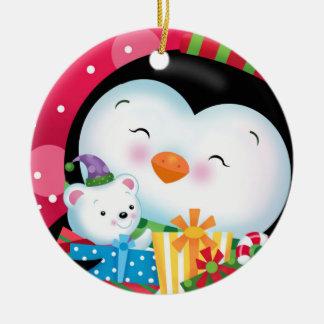 Pingvin- och gåvaprydnad julgransprydnad keramik