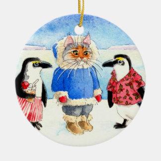 Pingvin och kattjulprydnad julgransprydnad keramik
