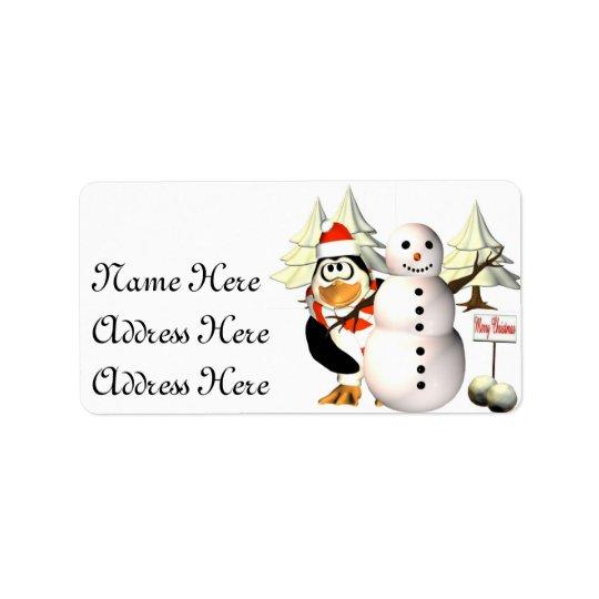 Pingvin och snögubbeadressetiketter adressetikett