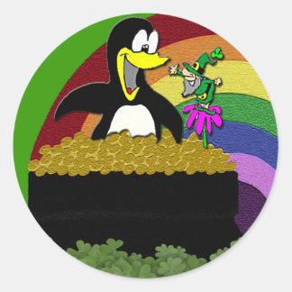 Pingvin, troll, guld och regnbåge runt klistermärke