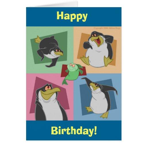 Pingvinet kvadrerar födelsedagkortet hälsningskort