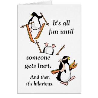 Pingvinet skidar äventyr hälsningskort