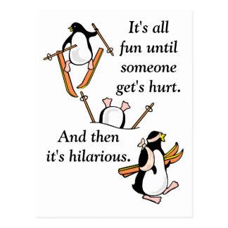 Pingvinet skidar äventyr vykort