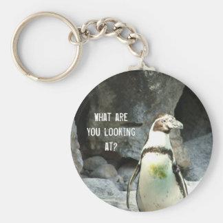 Pingvinet vad tittar du? rund nyckelring