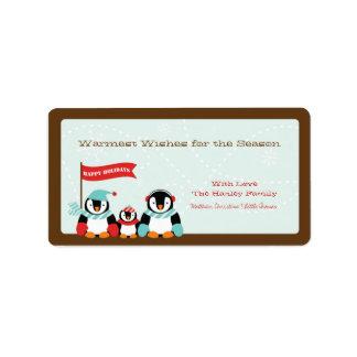 Pingvinfamilj av etiketten för helgdag 3 {TBA} Adressetikett