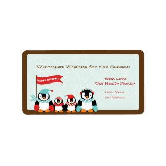 Pingvinfamilj av etiketten för helgdag 4 {TBA} Adressetikett