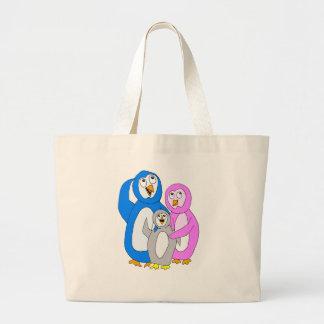 Pingvinfamilj - familj storleksanpassad toto tygkasse