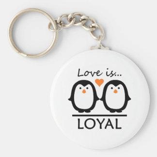 Pingvinkärlek Rund Nyckelring