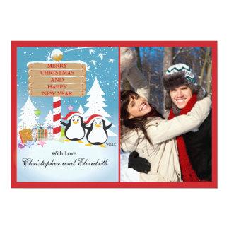 Pingvinlycklig kopplar ihop kortet för 12,7 x 17,8 cm inbjudningskort