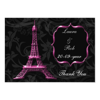 """pink Eiffel tower French Thank You 5"""" X 7"""" Invitation Card"""