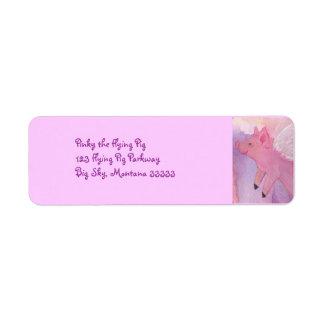 Pinky flyggrisadressetiketter returadress etikett