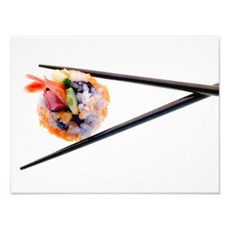 Pinnar för svart för Sushiräkarulle på vit Japan Fototryck