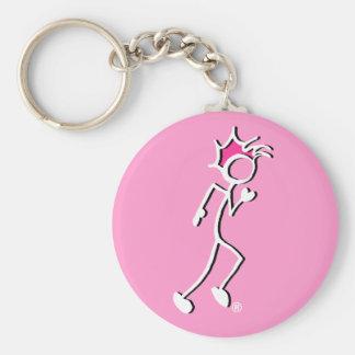 Pinne-Med-Sporten springerStickman rosan tonar Rund Nyckelring