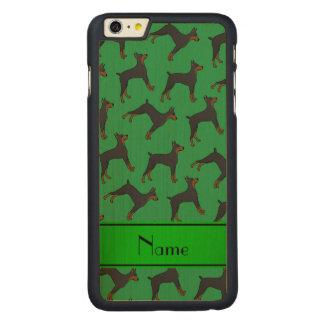 Pinschers för doberman för personlignamngrönt carved lönn iPhone 6 plus slim skal