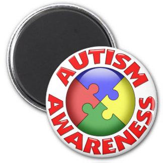 Pinwheel för Autismmedvetenhetpussel Magnet Rund 5.7 Cm
