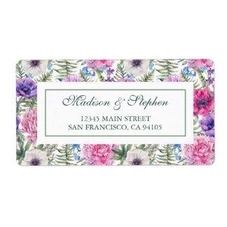 Pion för vattenfärg | för vintage blom- - bröllop fraktsedel