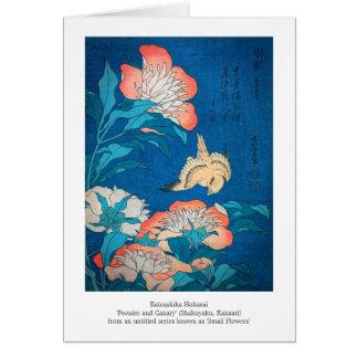 Pioner och japansk konst för kanariefågel vid hälsningskort